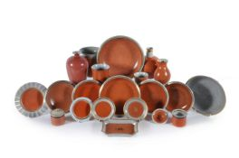 A selection of modern Royal Copenhagen crackle-glazed coral and grey ground porcelain