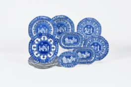 A selection of various Staffordshire manufacturers 'Etruscan' patterns blue and white printed pearlw