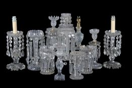 Assorted clear-glass table lustres