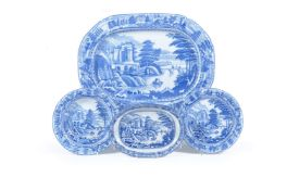 A selection of John & Richard Riley blue and white printed pearlware 'Scene after Claude Lorraine' p