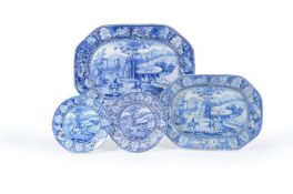 A selection of Staffordshire blue and white pearlware printed with the 'Italian Scenery' pattern