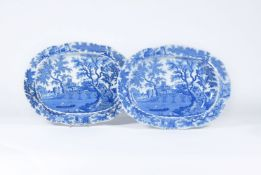 Two Henshall & Co. 'Castle & Bridge' pattern meat dishes