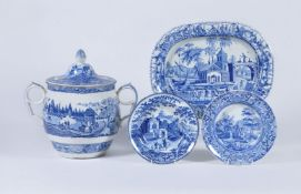Four items of Staffordshire blue and white printed pearlware