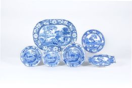 An assortment of Staffordshire blue and white printed pottery decorated with deer related subjects