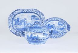 A Spode blue and white printed 'Castle' pattern pearlware soup tureen