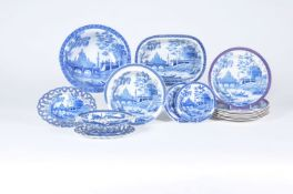 A mixed selection of Spode blue and white printed 'Tiber' pattern pearlware