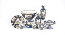 An assortment of Worcester 18th century style pottery and porcelain