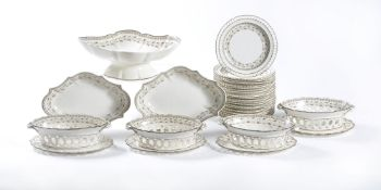 An English creamware part dessert service