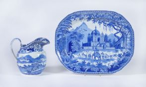 An English blue and white printed 'Mausoleum of Sultan Purveiz near Allahabad' serving dish attribut