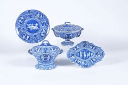 Four items of Spode blue and white printed pearlware decorated with the 'Greek' pattern