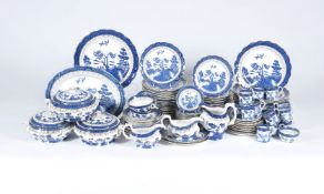 A Booth's pottery 'Real Old Willow' pattern part dinner and coffee service