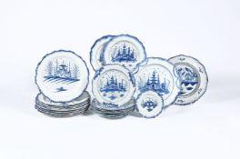 Twenty similar Staffordshire pearlware chinoiserie plates