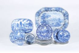 A miscellaneous assortment of Staffordshire blue and white printed pearlware