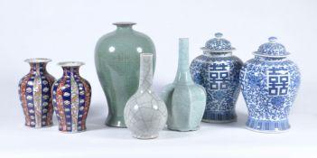 A pair of Japanese Imari vases