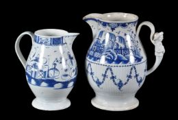 A large Staffordshire chinoiserie jug