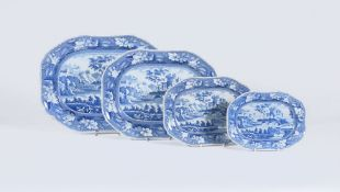 A set of four Riley's Semi-China blue and white printed graduated serving dishes