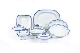 A selection of Staffordshire pearlware dinner wares with blue feuilles de choux rims