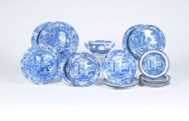 A miscellaneous selection of Spode and other manufacturers blue and white printed pearlware with cla