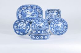 A selection of exotic wildlife Staffordshire blue and white printed dinner wares