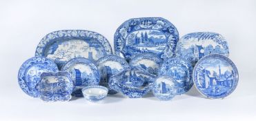 A selection of Staffordshire blue and white printed pearlware decorated with various Eastern scenes