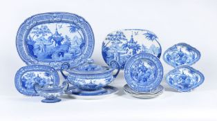 The remnants of a Staffordshire blue and white printed chinoiserie service