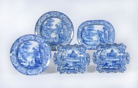 A pair of Rogers blue and white printed pearlware square dessert dishes printed with 'Boston State H