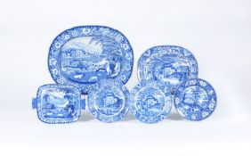 A selection of John Riley blue and white printed pearlware
