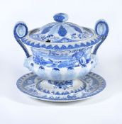 A Jacob Marsh blue and white printed pearlware two-handled soup tureen