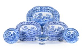 An assortment of Spode blue and white printed 'Tower' pattern pearlware