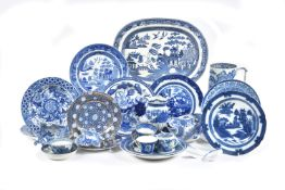 A miscellaneous collection of Staffordshire blue and white printed pottery