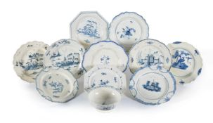 A selection of English blue and white chinoiserie creamware