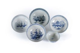 Five various Staffordshire blue and white pearlware painted chinoiserie bowls