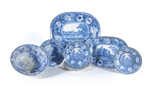 A selection of Staffordshire blue and white printed pottery including assorted views of St. Albans