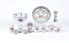 A selection of Chinese Export armorial style porcelain of Edme Samson type