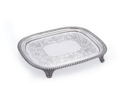 A late George III silver oblong salver by William Bennett