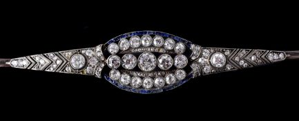 An early 20th century diamond and sapphire bracelet