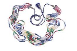 A multi gem set bead necklace