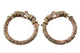 A pair of Jaipur enamel dragon bangles (Kada)