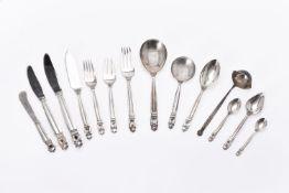 Johan Rhode for Georg Jensen Solvsmedie A/S, a Danish silver Acorn pattern table service for twelve