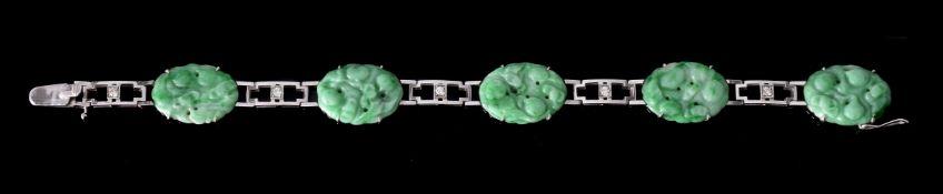 An Art Deco jadeite jade and diamond bracelet