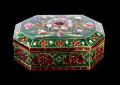 A Jaipur enamel and gold box