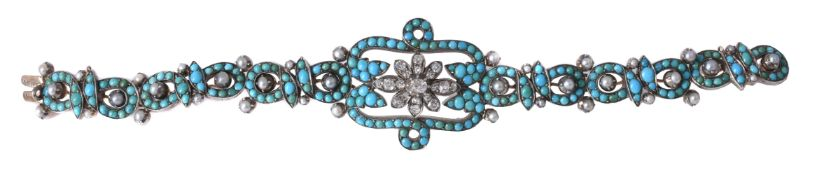 A late 19th century turquoise, diamond and pearl bracelet