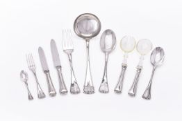An Italian silver coloured Perlé pattern table service for twelve by Luigi Calegaro