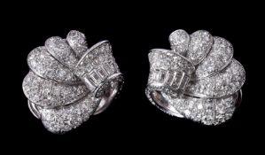 A pair of 1950s diamond ear clips