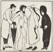 Eric Gill (British 1882-1940), A group of five wood engravings of fashion subjects