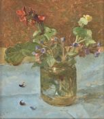 Carolyn Sergeant (British b. 1937), Red and purple flowers in a jar