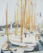 Michel Dureuil (French b. 1929), Boats in a harbour
