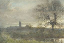 Albert Goodwin (British 1845-1932), Cathedral landscape