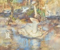 Sir William Russell Flint (Scottish 1880–1969) , Young girl in a white dress, seated on a rock at th