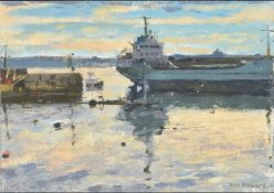 Ken Howard (British b. 1932), Estuary scene with tanker